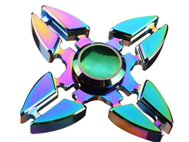 Four Leaves Rainbow EDC Fidget Hand Spinner Alloy Finger Focus ADHD Autism Kids Toy Gyro